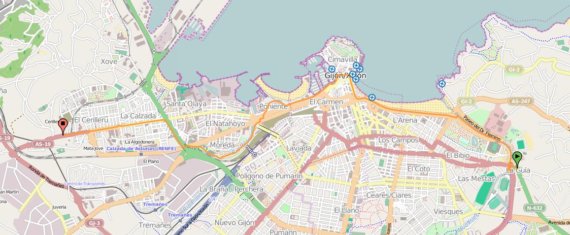 Mapa Carril Bici Gijon.Gijon En El Camino Del Norte En Bici 30 Dias En Bici