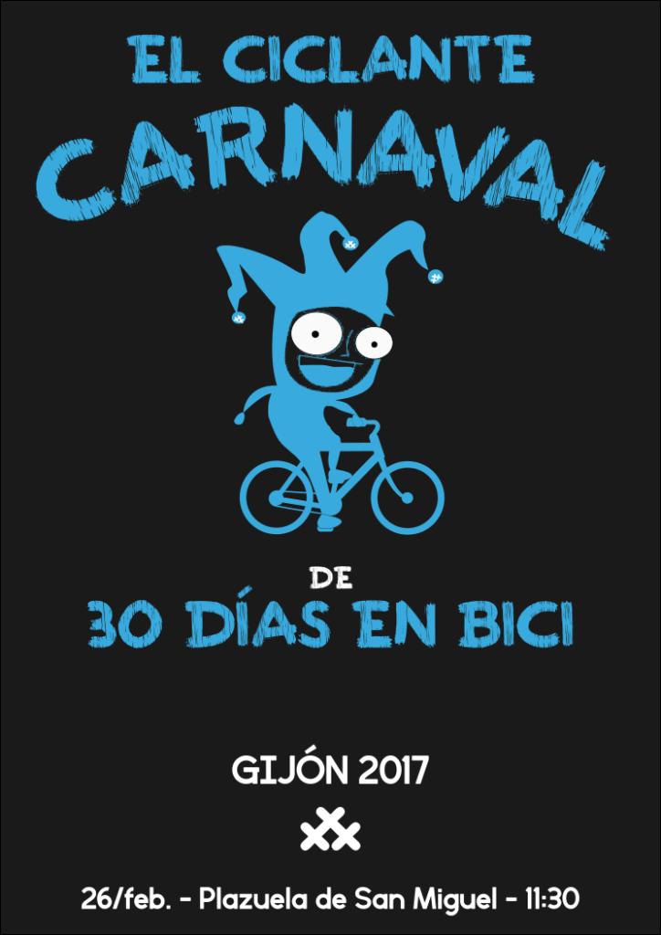 """Cartel de """"El Ciclante Carnaval de 30DEB"""" de Gijón - 30 Días en Bici"""
