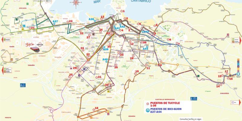 Mapa Intermodal Gijon Bus&Ride 2018