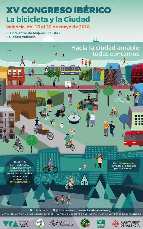 Cartel Valencia Ciutat Amable - 30 Días en Bici Gijón