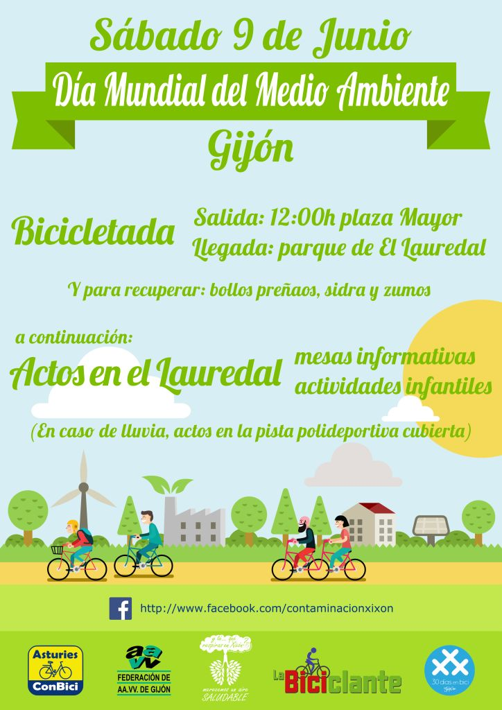 Cartel Bicicletada Día Mundial del Medio Ambiente en Gijón - 30 Días en Bici