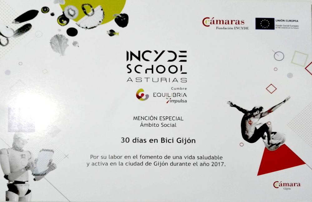 """Diploma MENCIÓN EQUILIBRIA 2017 buena práctica en el entorno de la vida saludable y activa en Gijón 2017 DE """"INCYDE SCHOOL Asturias: Cumbre Equilibria"""" - 30 días en bici"""