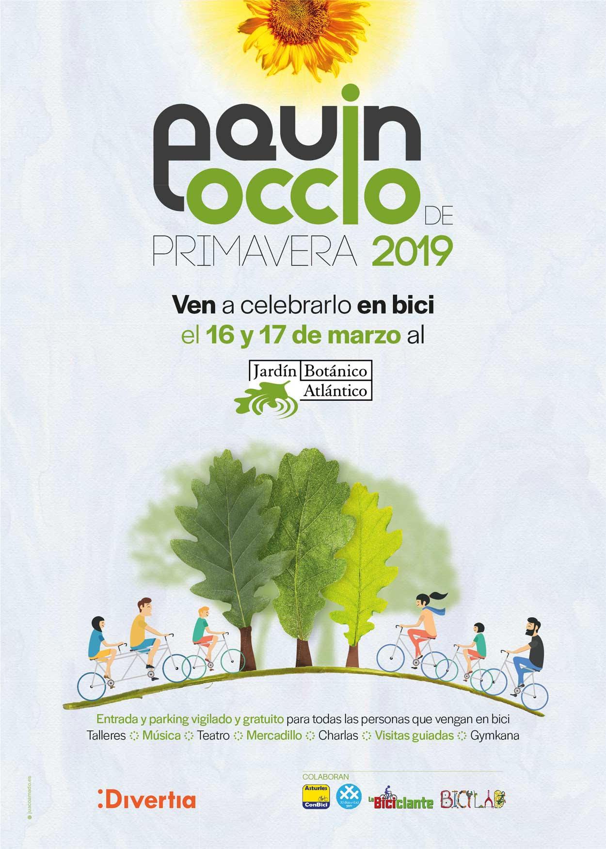 Cartel Fiesta Equinoccio de Primavera 2019 Jardín Botánico Atlantico - 30 días en bici Gijón