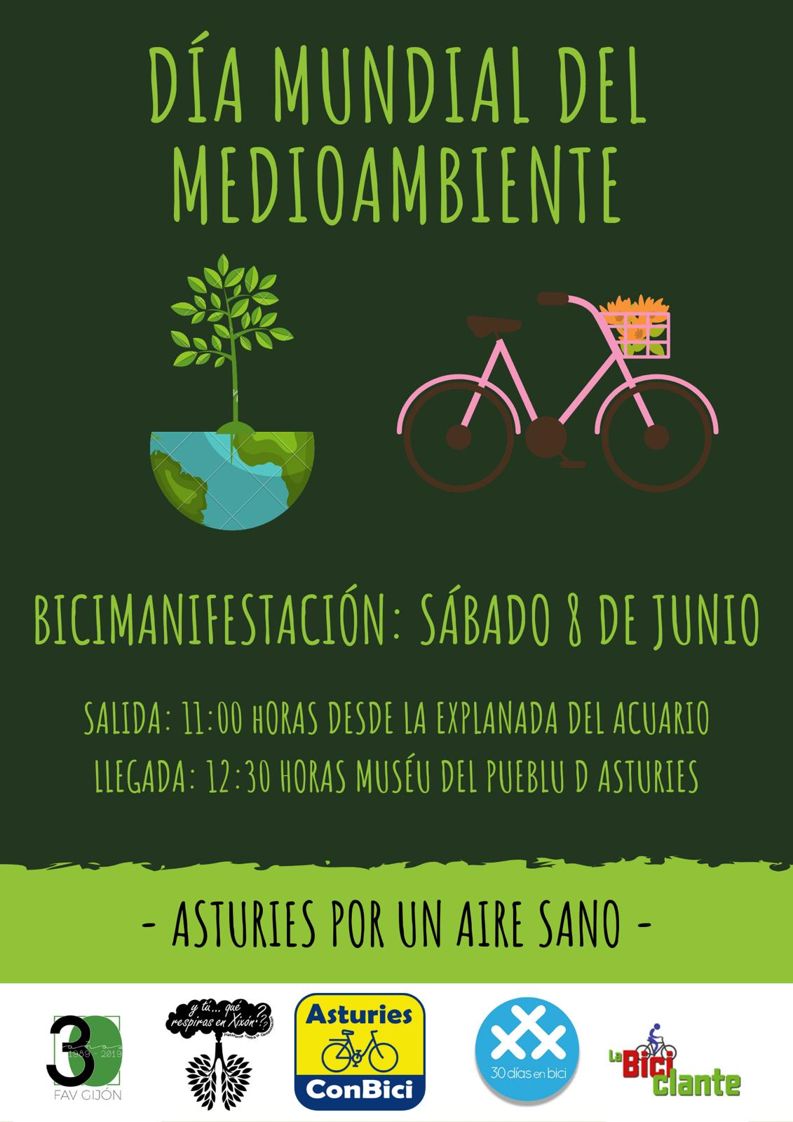 Cartel Día Mundial del Medio Ambiente 2019 - - 30 Días en Bici Gijón