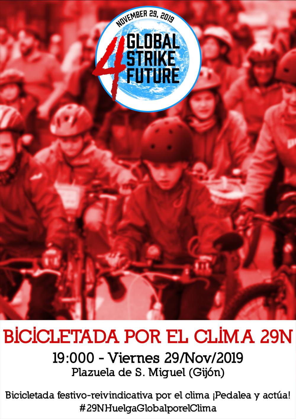 Cartel 9N Bicicletada por el Clima en Gijón. Huelga Mundial por el Clima - 30 Días en Bici