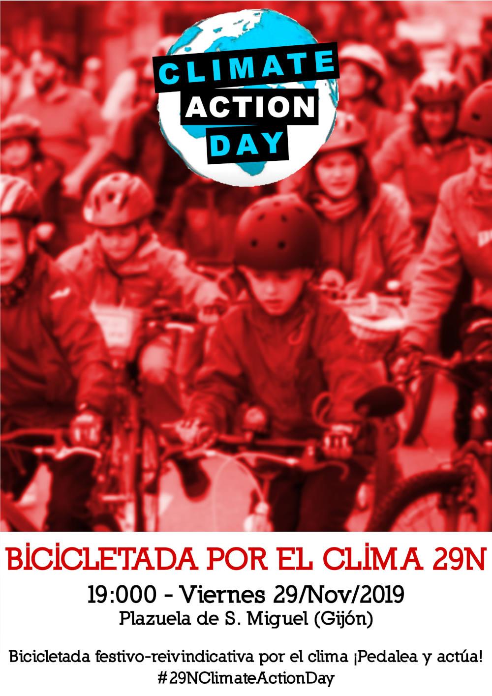 Cartel 9N Bicicletada por el Clima en Gijón. Climate Action Day - 30 Días en Bici